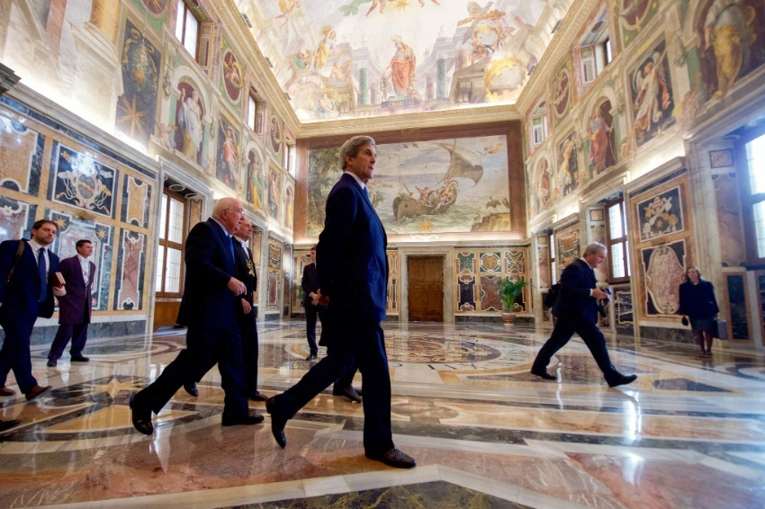 Secretary Kerry walks through the Vatican on December 2, 2016, following a meeting with Pope Francis.
