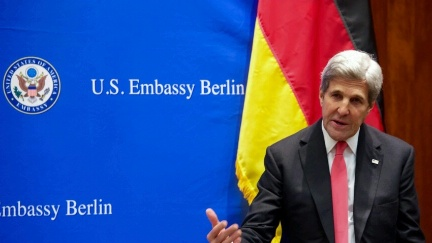 Secretary Kerry addresses a group of young people involved in Transatlantic affairs at the U.S. Embassy Berlin in Berlin, Germany, on December 5, 2016.