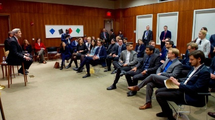 U.S. Secretary of State John Kerry takes a question from a woman in a group of young people involved in Transatlantic affairs at the U.S. Embassy Berlin in Berlin, Germany, on December 5, 2016, before a bilateral meeting with German Foreign Minister Frank-Walter Steinmeier, and his receiving the Order of Merit from the German government.