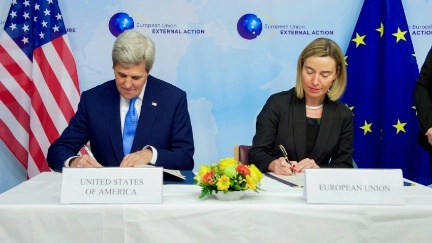 Secretary Kerry and European Union High Representative for Foreign Affairs and Security Policy Federica Mogherini sign a U.S.-EU Acquisition and Cross-Servicing Agreement on December 6, 2016, at the European External Action Service Headquarters in Brussels, Belgium.