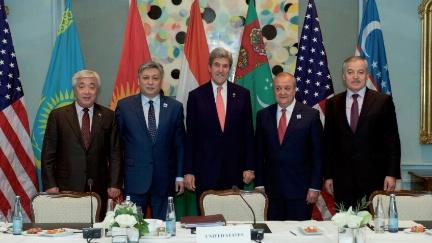 "U.S. Secretary of State John Kerry poses for a photo after a meeting on December 7, 2016, in Hamburg, Germany, with the ""C5+1"" Foreign Ministers - from Kazakhstan, Uzbekistan, Tajikistan, and Kyrgyzstan - as the Secretary visits the German city to attend a meeting of the Organization for Security and Co-operation in Europe. The Foreign Minister of Turkmenistan was unable to attend."