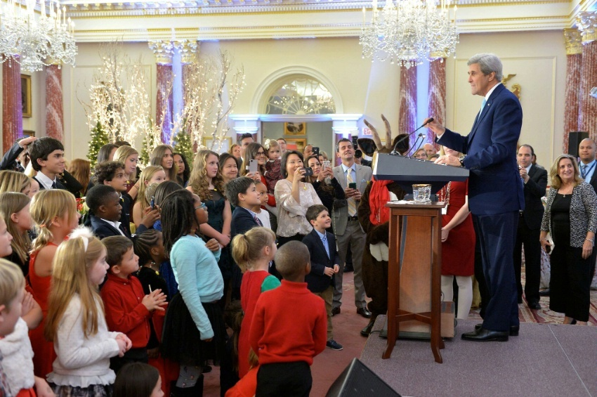Secretary Kerry Delivers Remarks at the Unaccompanied Tour Family Holiday Reception