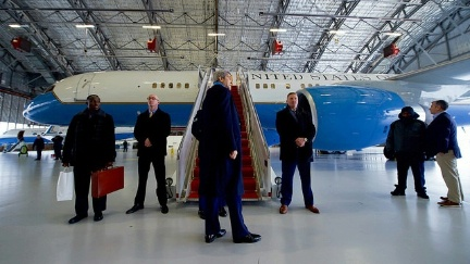 U.S. Secretary of State John Kerry prepares to board his airplane in a hangar at Joint Base Andrews in Camp Springs, Maryland, due to freezing rain passing through the area, as he sets off for Riyadh, Saudi Arabia, on December 17, 2016, for meetings related to Yemen.