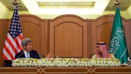 Secretary Kerry, flanked by Saudi Arabia Foreign Minister Adel al-Jubeir, addresses reporters after they and counterparts from the United Kingdom, United Arab Emirates, Oman, and the UN met on December 18, 2016, in Riyadh, Saudi Arabia, to discuss the future of Yemen.