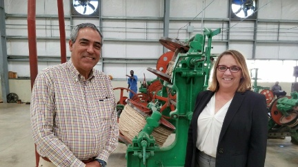 WHA Executive Director Michelle LaBonte with Sisalco CEO Pierre-Yves Gardere at Caracol Industrial Park, which employs more than 10,500 people. The Park's commercial output and payroll constitute over 1.5% of Haiti's GDP.