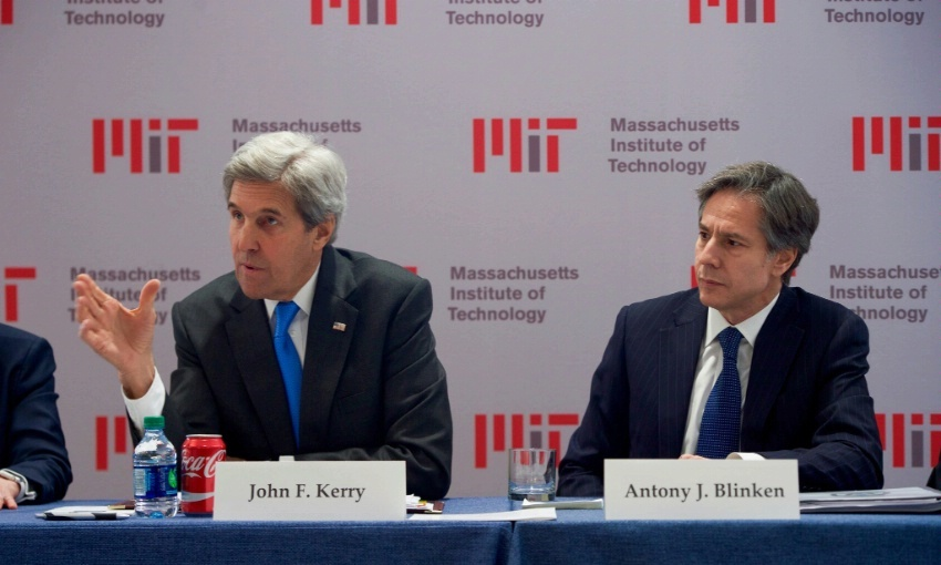 "Secretary of State John Kerry, joined by Deputy Secretary of State Antony ""Tony"" Blinken, speaks about the future of job creation on January 9, 2016, while attending the Innovation Forum at the Massachusetts Institute of Technology Sloan School of Management in Cambridge, Massachusetts."