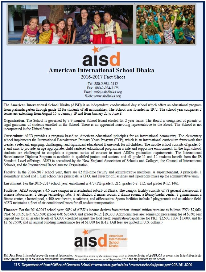 Date: 01/11/2017 Description: Fact Sheet American International School Dhaka - State Dept Image