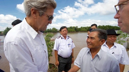 Secretary Kerry shakes hands with 70-year-old Vo Ban Tam - who was part of a team that attacked the Secretary's Swift Boat on February 28, 1969