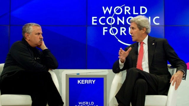 Date: 01/17/2017 Description: Secretary Kerry Speaks With New York Times Columnist Friedman at the World Economic Forum in Davos - State Dept Image