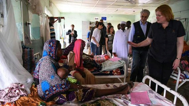 Date: Description: Assistant Secretary Anne C. Richard, right, and Christos Stylianides, European Commissioner for Humanitarian Aid and Crisis Management, visit a children center for malnutrition at a hospital in N'Djamena, Chad. - State Dept Image